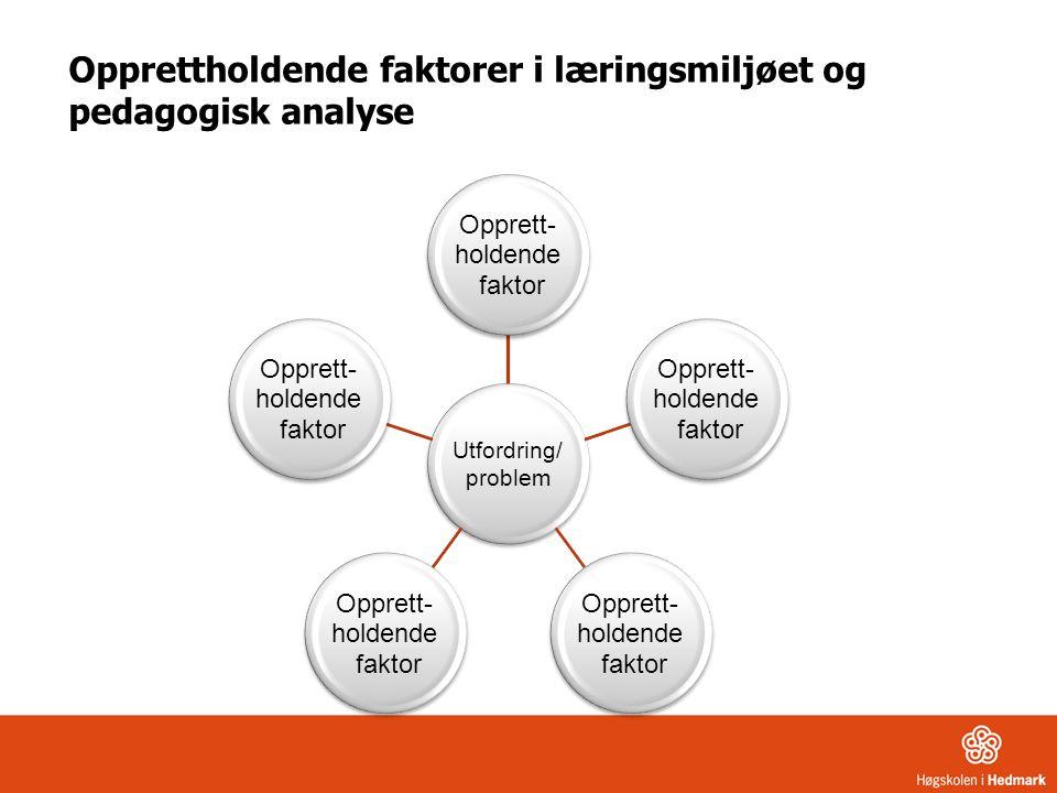 Opprettholdende faktorer i læringsmiljøet og pedagogisk analyse