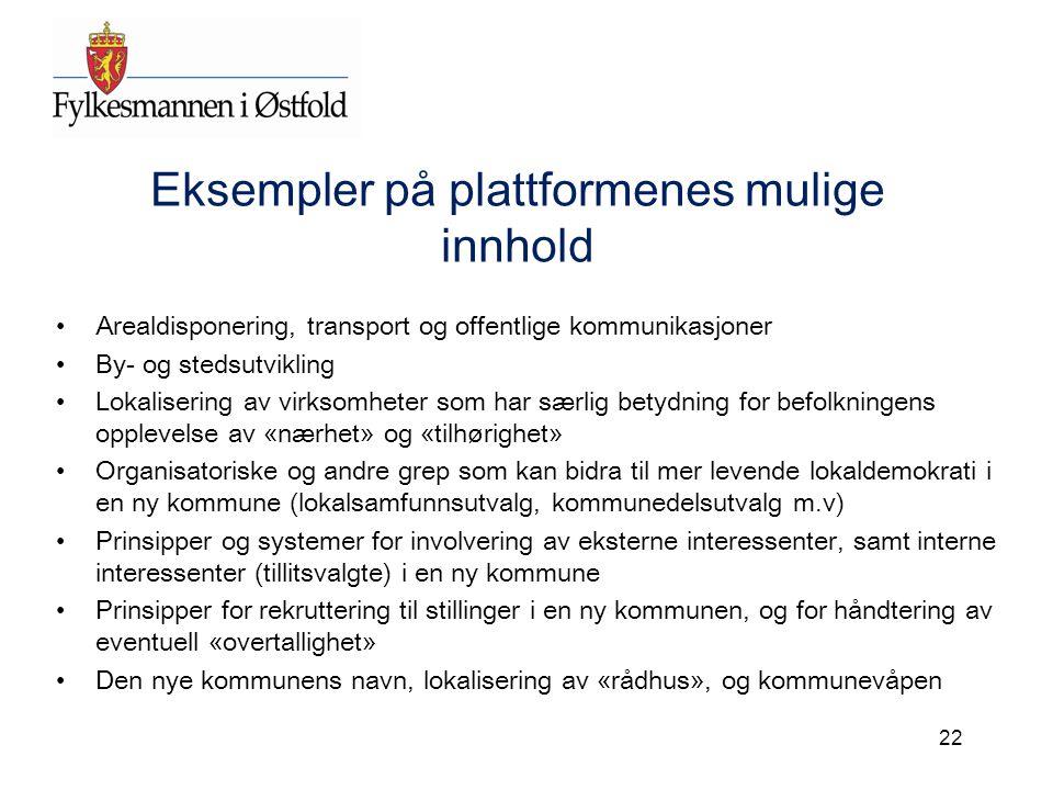 Eksempler på plattformenes mulige innhold