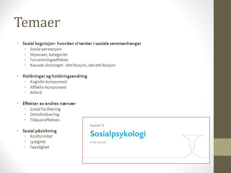 Temaer Sosial kognisjon- hvordan vi tenker i sosiale sammenhenger