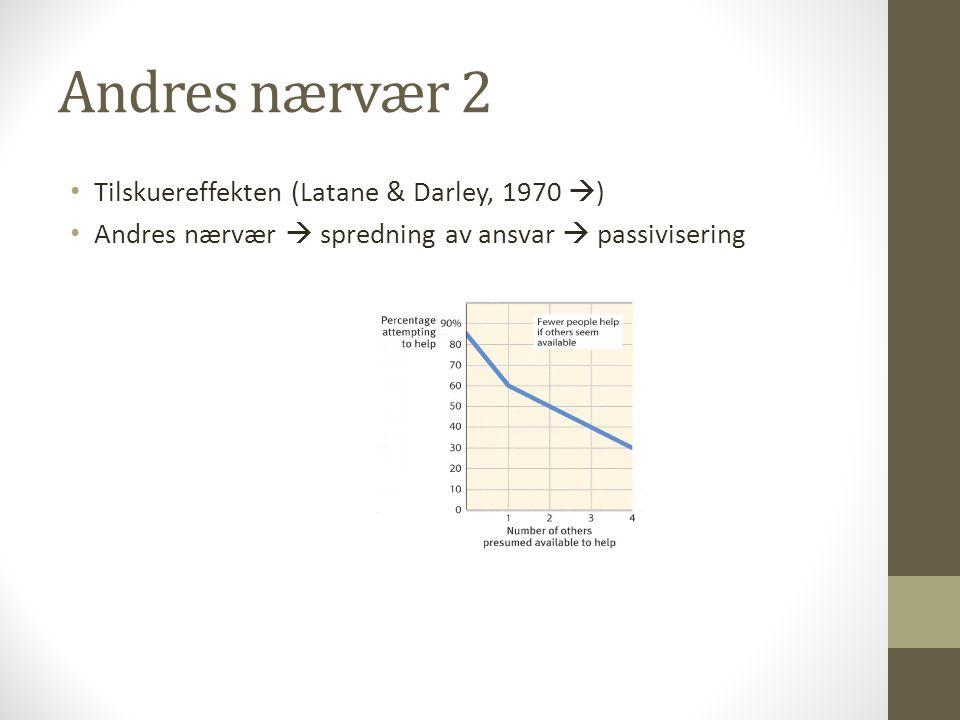 Andres nærvær 2 Tilskuereffekten (Latane & Darley, 1970 )
