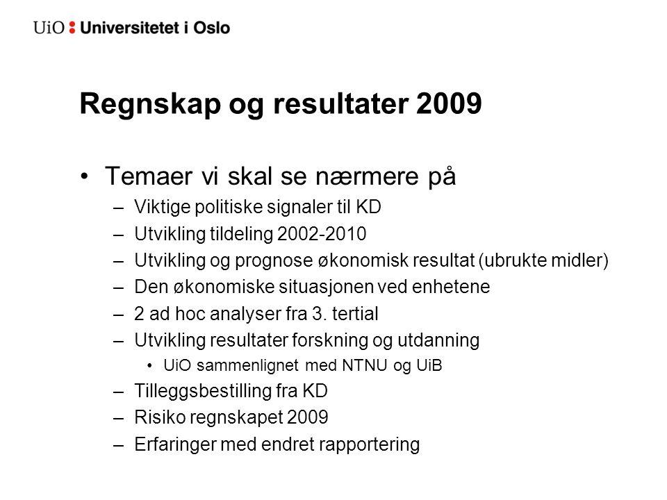Regnskap og resultater 2009