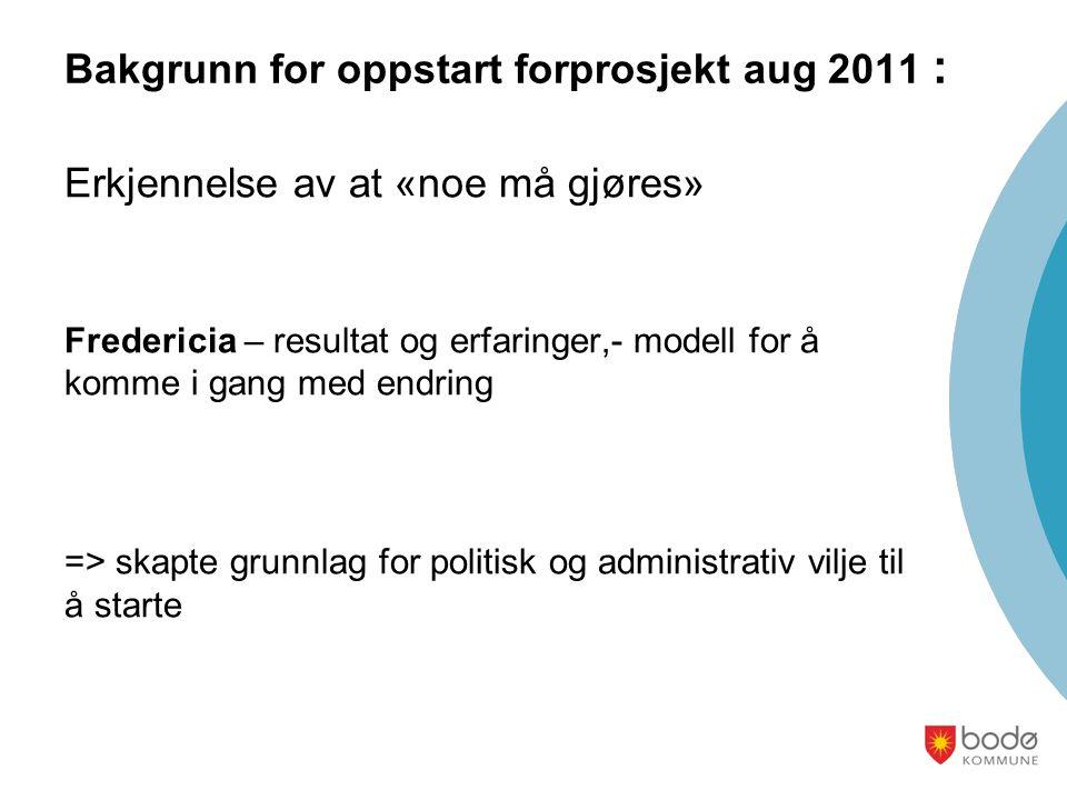 Bakgrunn for oppstart forprosjekt aug 2011 :