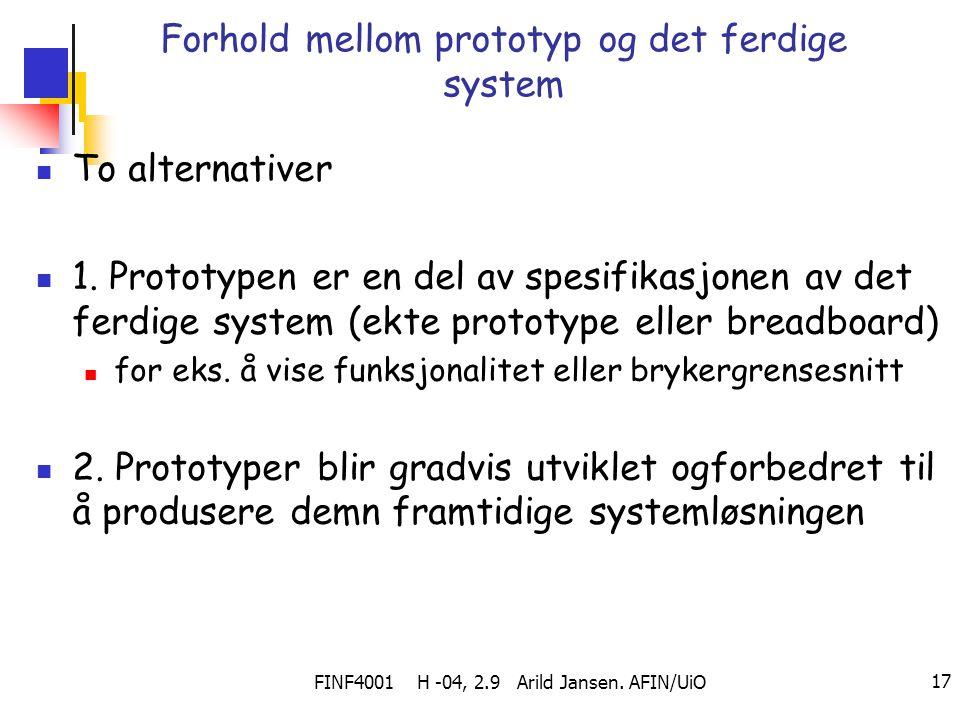 Forhold mellom prototyp og det ferdige system