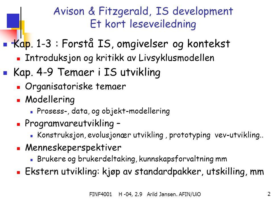 Avison & Fitzgerald, IS development Et kort leseveiledning