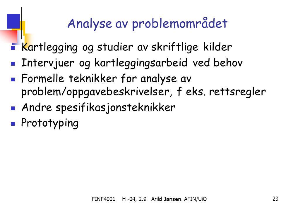 Analyse av problemområdet