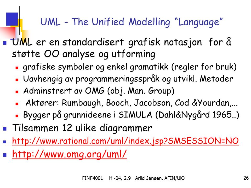 UML - The Unified Modelling Language