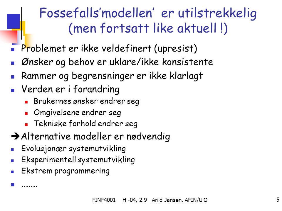 Fossefalls'modellen' er utilstrekkelig (men fortsatt like aktuell !)