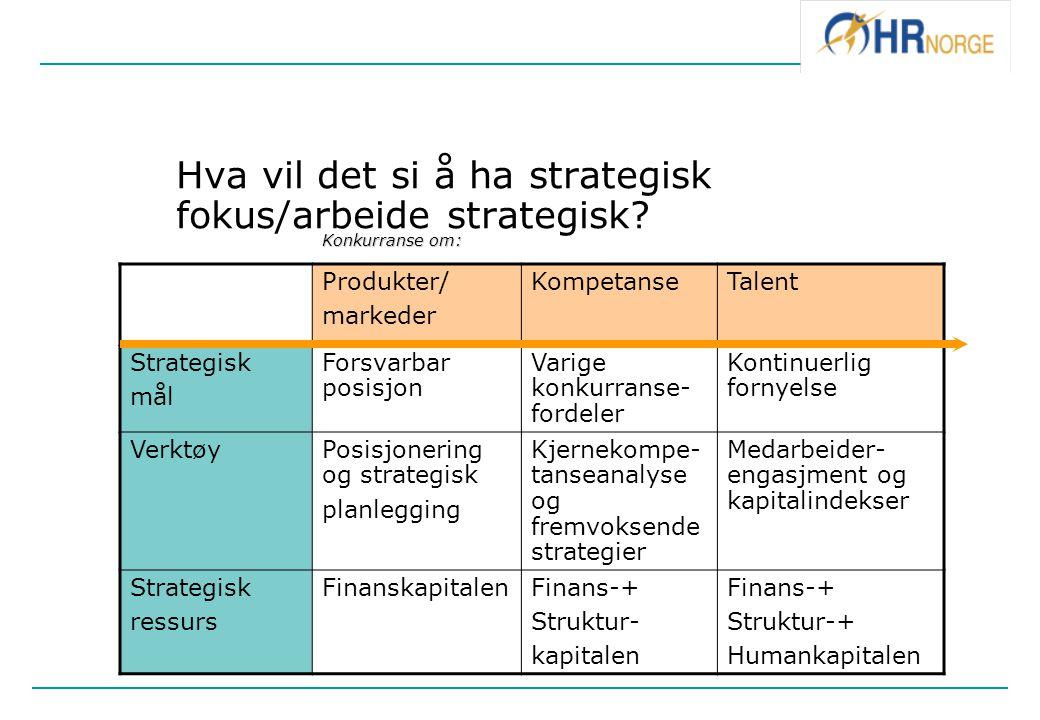 Hva vil det si å ha strategisk fokus/arbeide strategisk