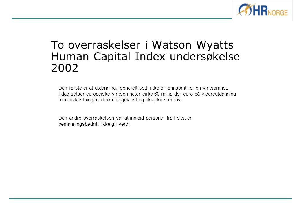 To overraskelser i Watson Wyatts Human Capital Index undersøkelse 2002