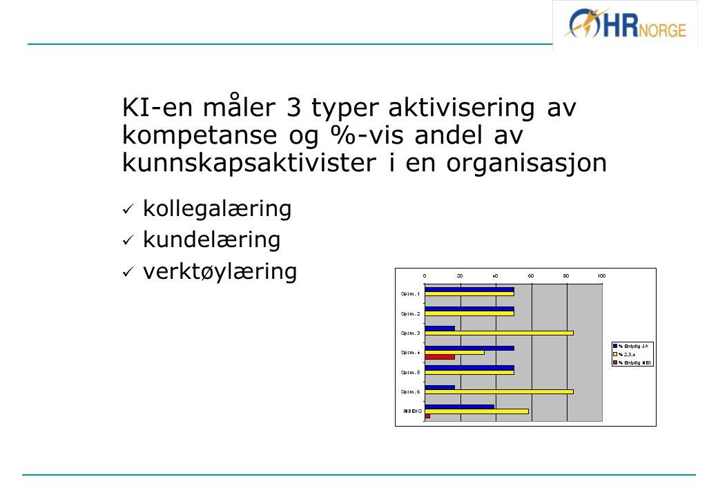 KI-en måler 3 typer aktivisering av kompetanse og %-vis andel av kunnskapsaktivister i en organisasjon