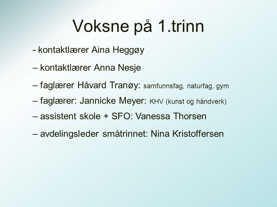 Voksne på 1.trinn - kontaktlærer Aina Heggøy – kontaktlærer Anna Nesje
