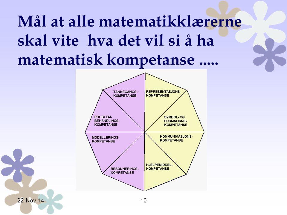 Mål at alle matematikklærerne skal vite hva det vil si å ha matematisk kompetanse .....