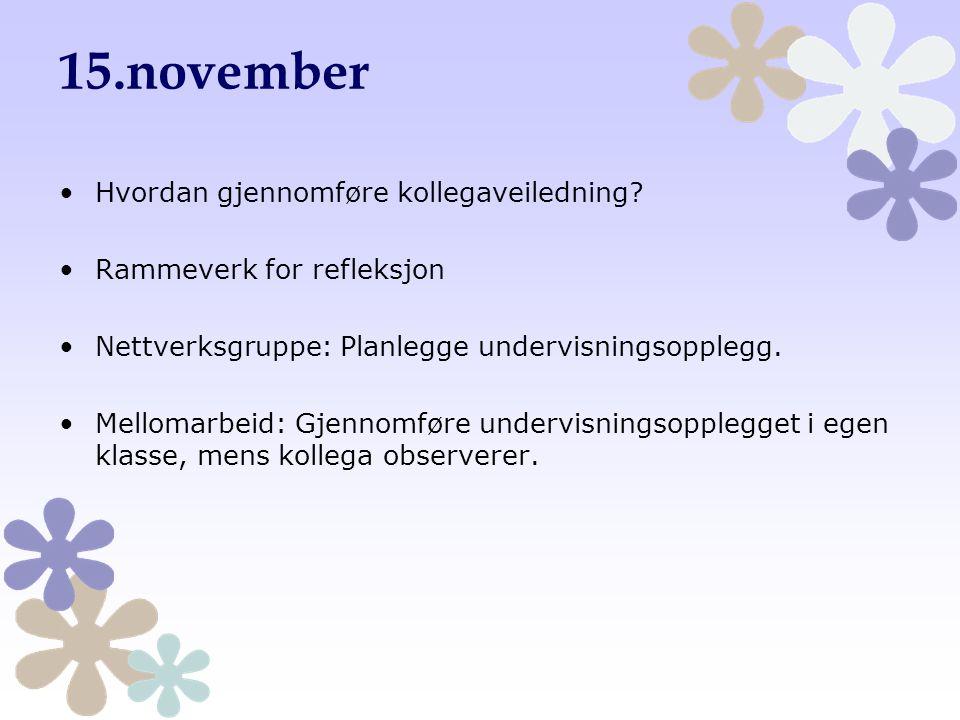 15.november Hvordan gjennomføre kollegaveiledning