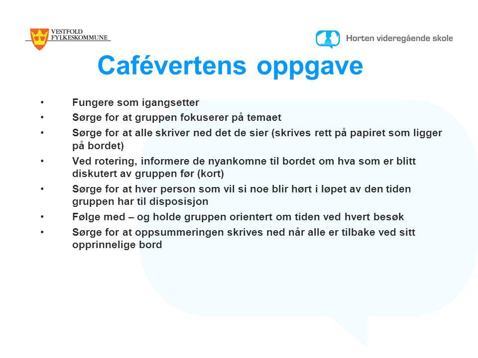 Cafévertens oppgave Fungere som igangsetter