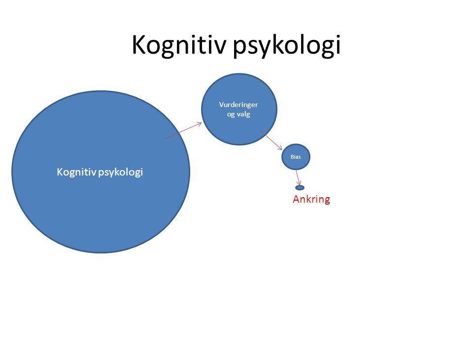 Kognitiv psykologi Vurderinger og valg Kognitiv psykologi Bias Ankring