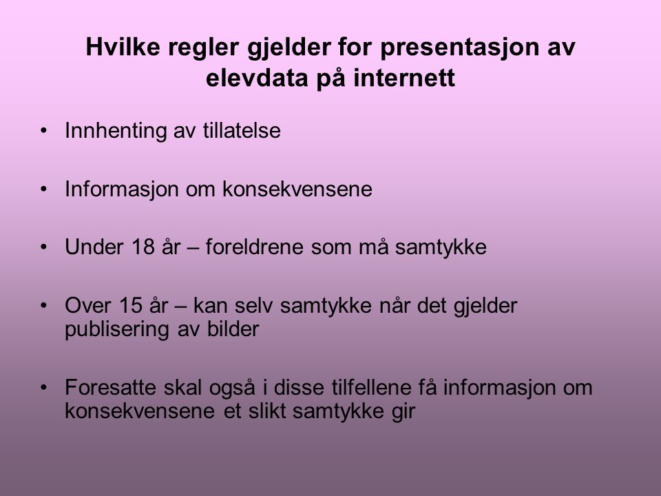 Hvilke regler gjelder for presentasjon av elevdata på internett