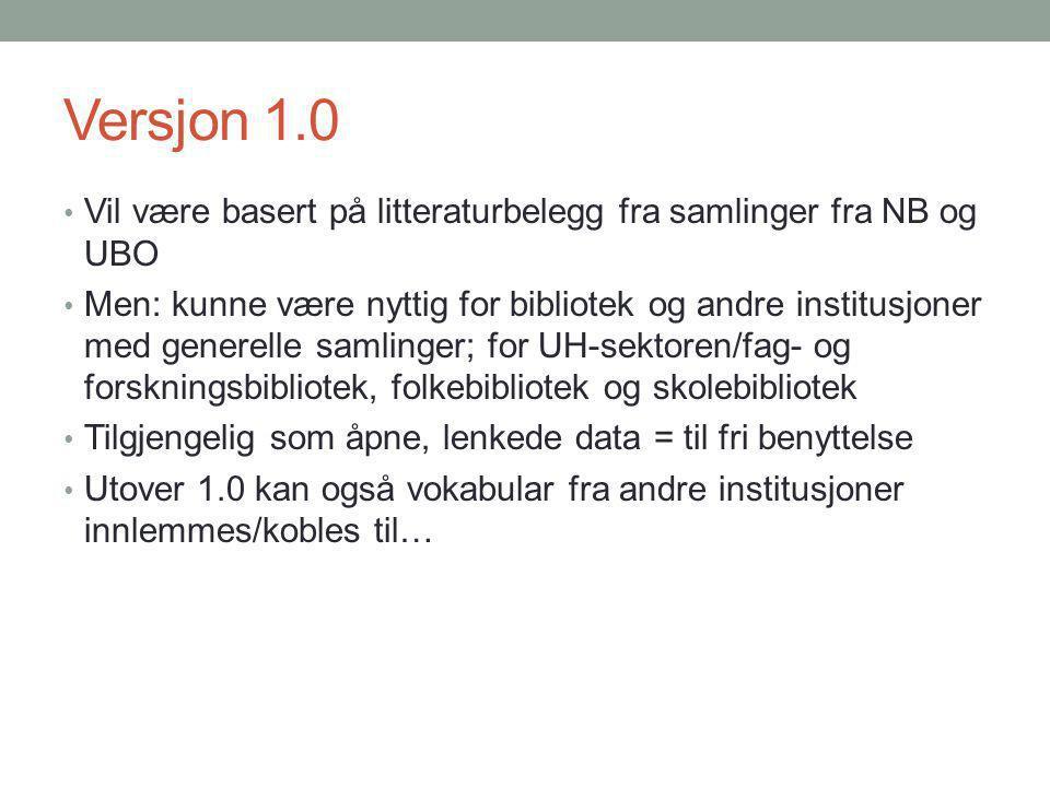 Versjon 1.0 Vil være basert på litteraturbelegg fra samlinger fra NB og UBO.
