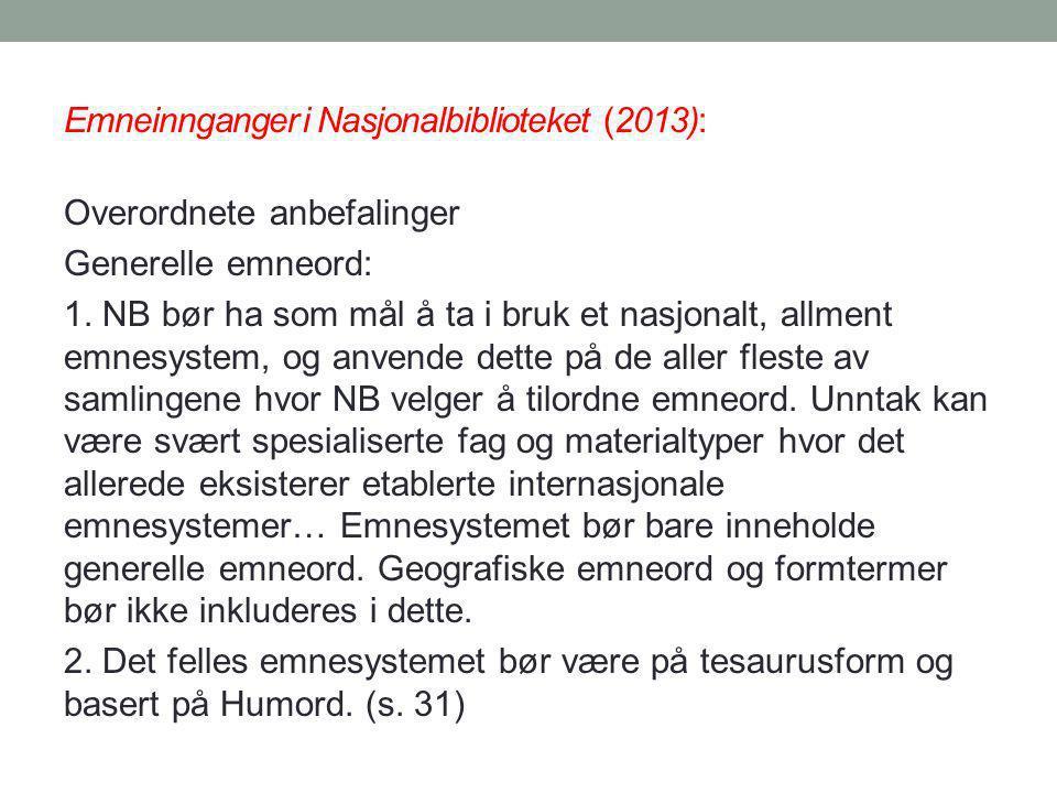 Emneinnganger i Nasjonalbiblioteket (2013):
