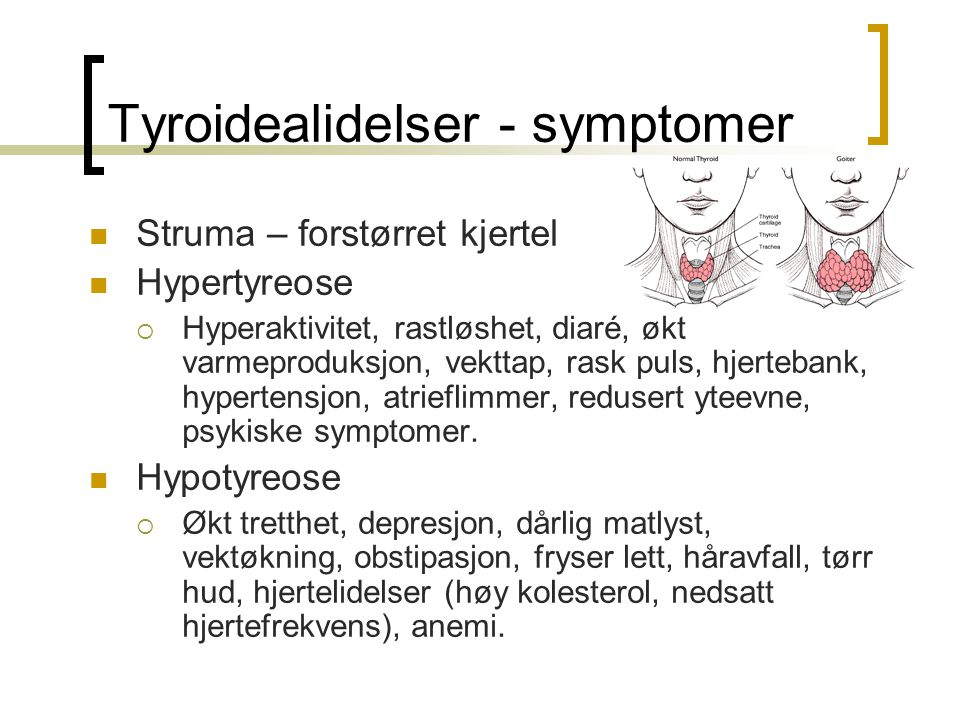 Tyroidealidelser - symptomer