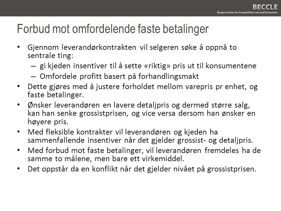 Forbud mot omfordelende faste betalinger