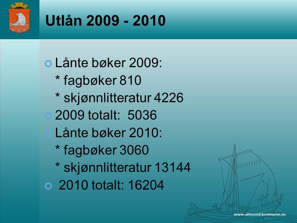 Utlån 2009 - 2010 Lånte bøker 2009: * fagbøker 810