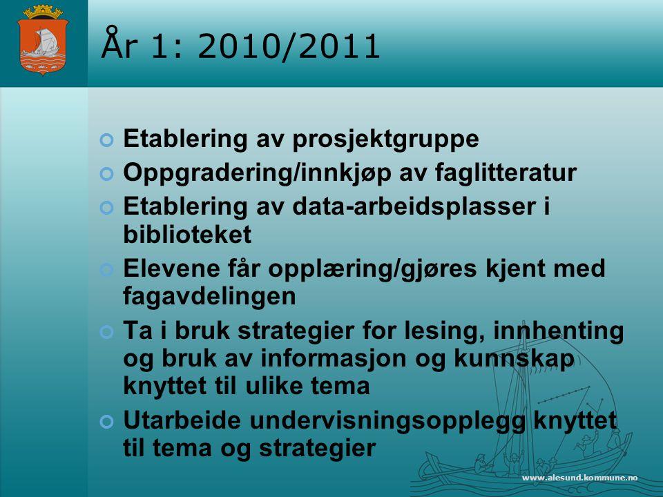 År 1: 2010/2011 Etablering av prosjektgruppe