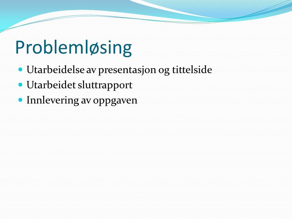 Problemløsing Utarbeidelse av presentasjon og tittelside