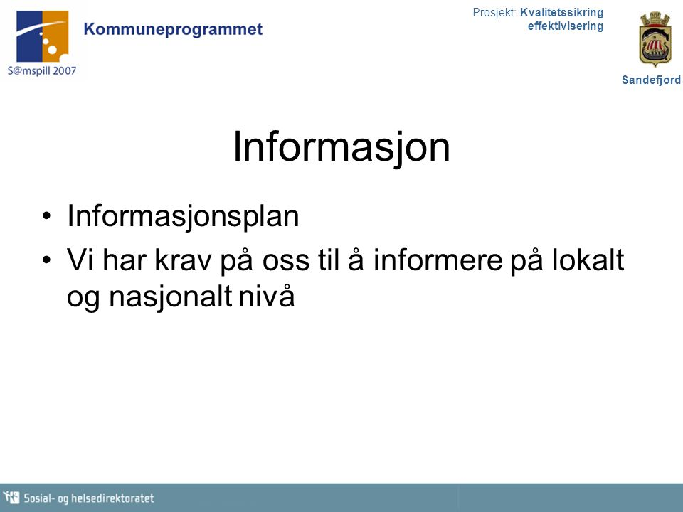 Informasjon Informasjonsplan