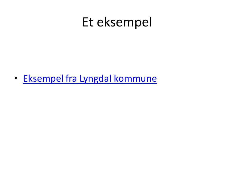 Et eksempel Eksempel fra Lyngdal kommune