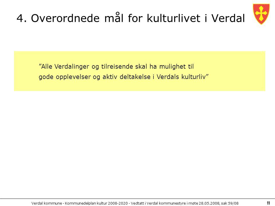 4. Overordnede mål for kulturlivet i Verdal