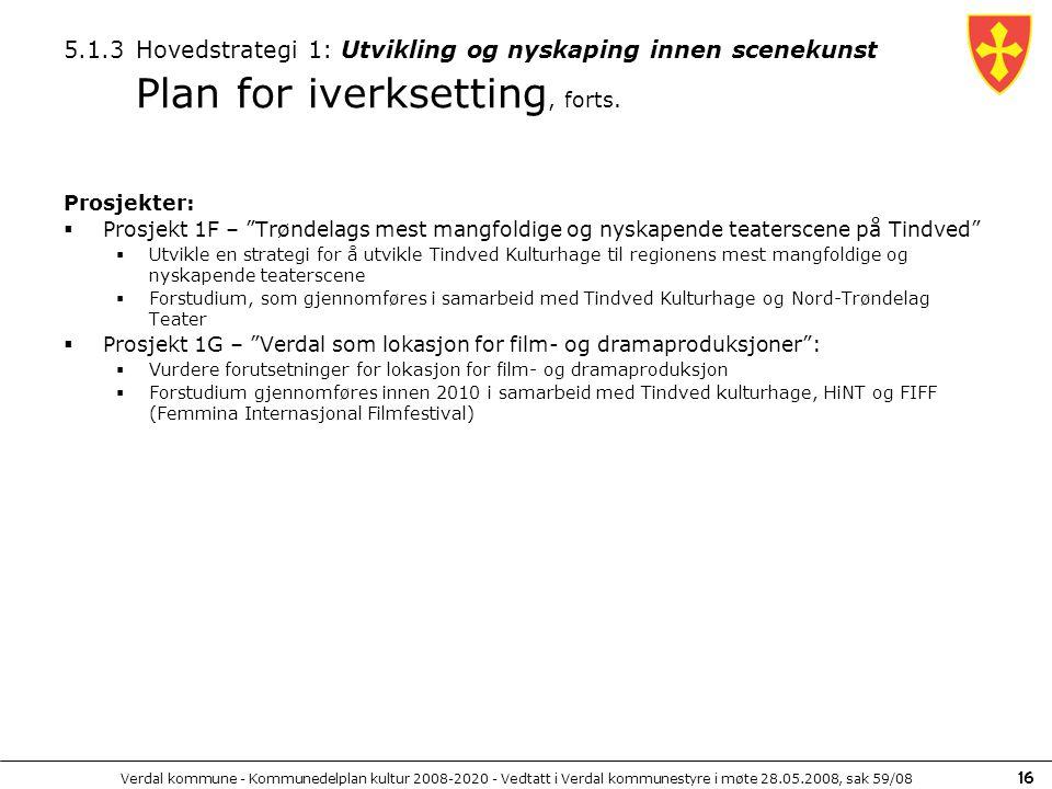 5.1.3 Hovedstrategi 1: Utvikling og nyskaping innen scenekunst Plan for iverksetting, forts.