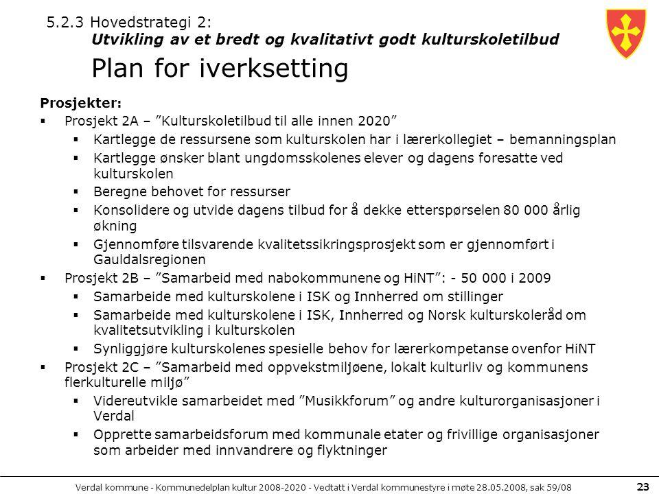 5.2.3 Hovedstrategi 2: Utvikling av et bredt og kvalitativt godt kulturskoletilbud Plan for iverksetting