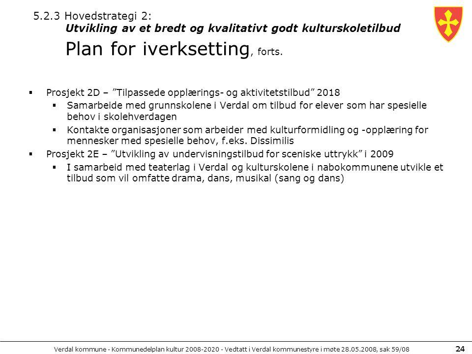 5.2.3 Hovedstrategi 2: Utvikling av et bredt og kvalitativt godt kulturskoletilbud Plan for iverksetting, forts.
