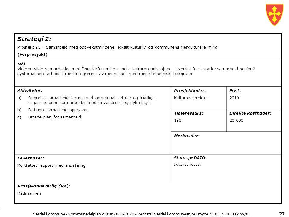 Strategi 2: Prosjekt 2C – Samarbeid med oppvekstmiljøene, lokalt kulturliv og kommunens flerkulturelle miljø.