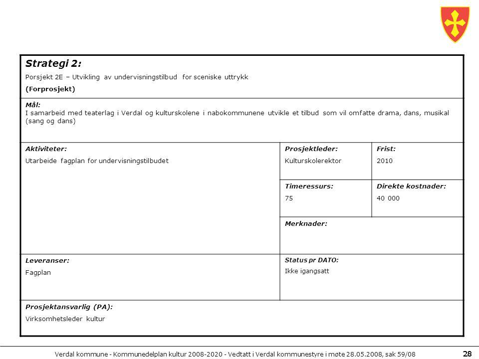 Strategi 2: Porsjekt 2E – Utvikling av undervisningstilbud for sceniske uttrykk. (Forprosjekt) Mål: