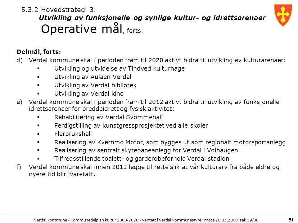 5.3.2 Hovedstrategi 3: Utvikling av funksjonelle og synlige kultur- og idrettsarenaer Operative mål, forts.