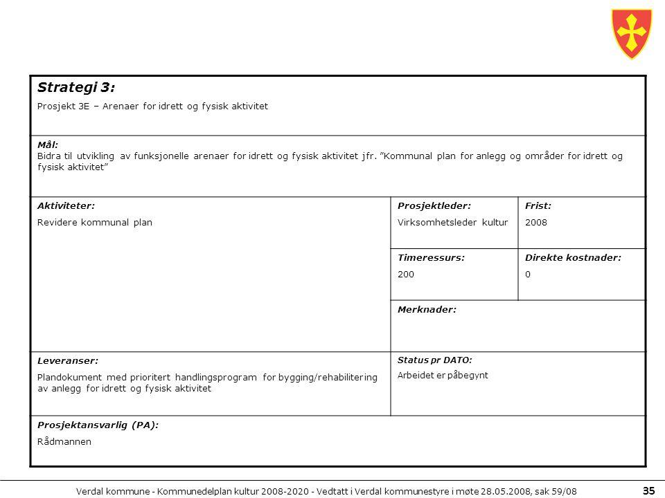 Strategi 3: Prosjekt 3E – Arenaer for idrett og fysisk aktivitet Mål:
