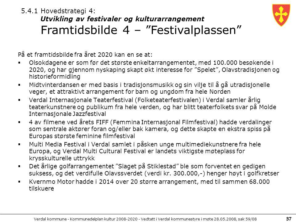 5.4.1 Hovedstrategi 4: Utvikling av festivaler og kulturarrangement Framtidsbilde 4 – Festivalplassen