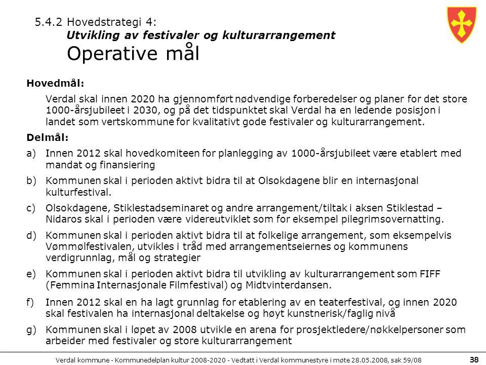 5.4.2 Hovedstrategi 4: Utvikling av festivaler og kulturarrangement Operative mål