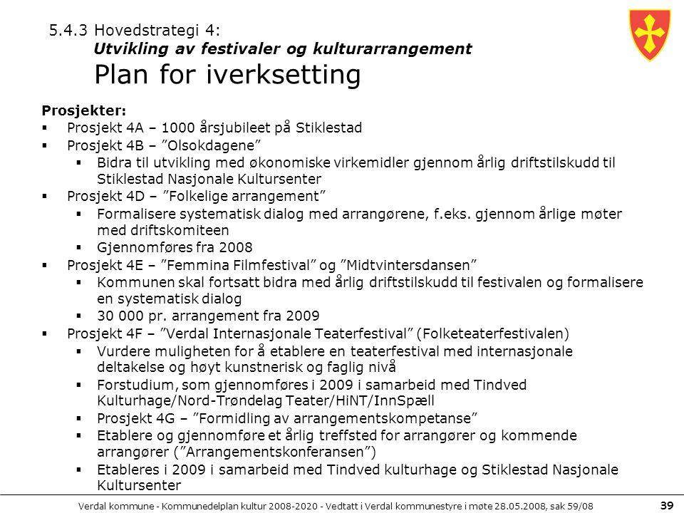 5.4.3 Hovedstrategi 4: Utvikling av festivaler og kulturarrangement Plan for iverksetting