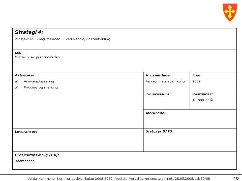 Strategi 4: Prosjekt 4C Pilegrimsleden – vedlikehold/videreutvikling