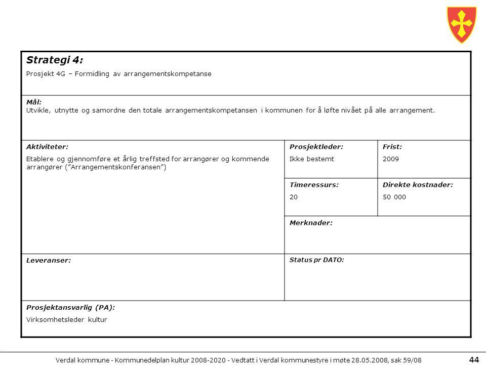 Strategi 4: Prosjekt 4G – Formidling av arrangementskompetanse Mål:
