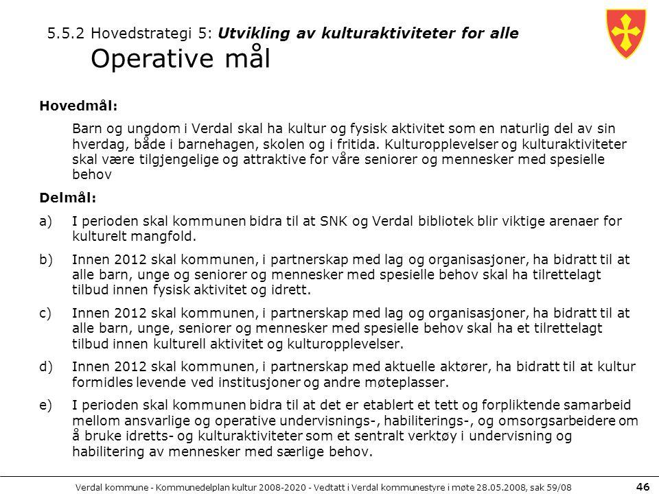 5.5.2 Hovedstrategi 5: Utvikling av kulturaktiviteter for alle Operative mål