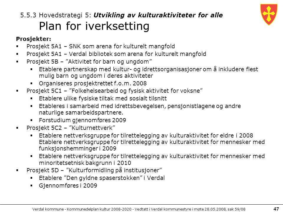 5.5.3 Hovedstrategi 5: Utvikling av kulturaktiviteter for alle Plan for iverksetting