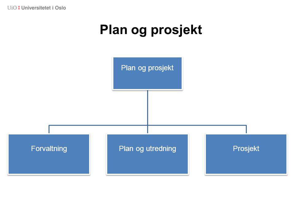 Plan og prosjekt Plan og prosjekt Forvaltning Plan og utredning