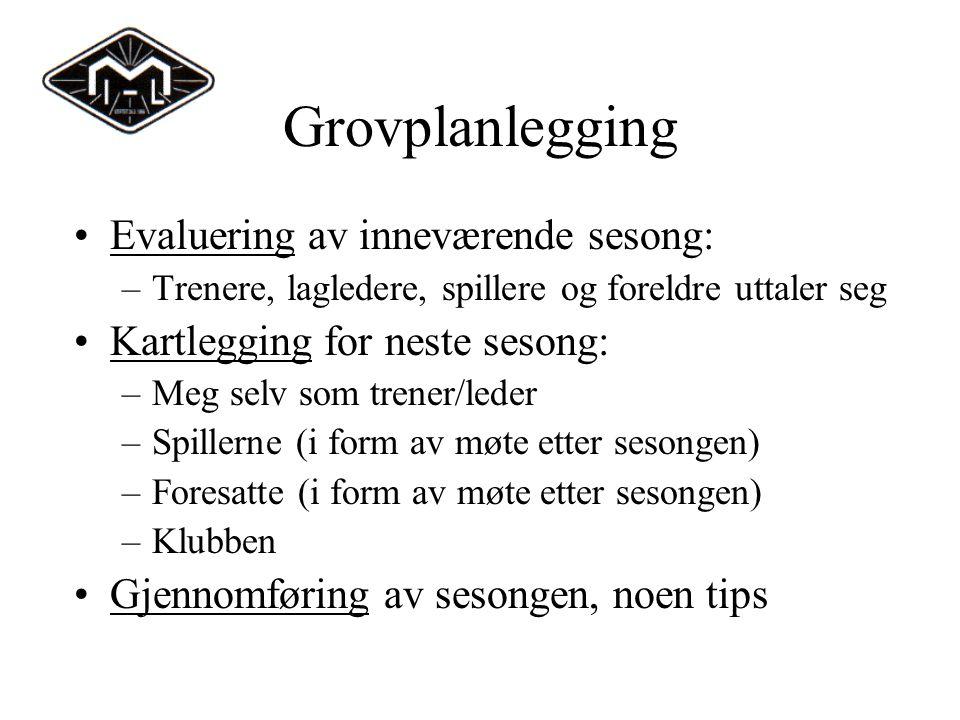 Grovplanlegging Evaluering av inneværende sesong: