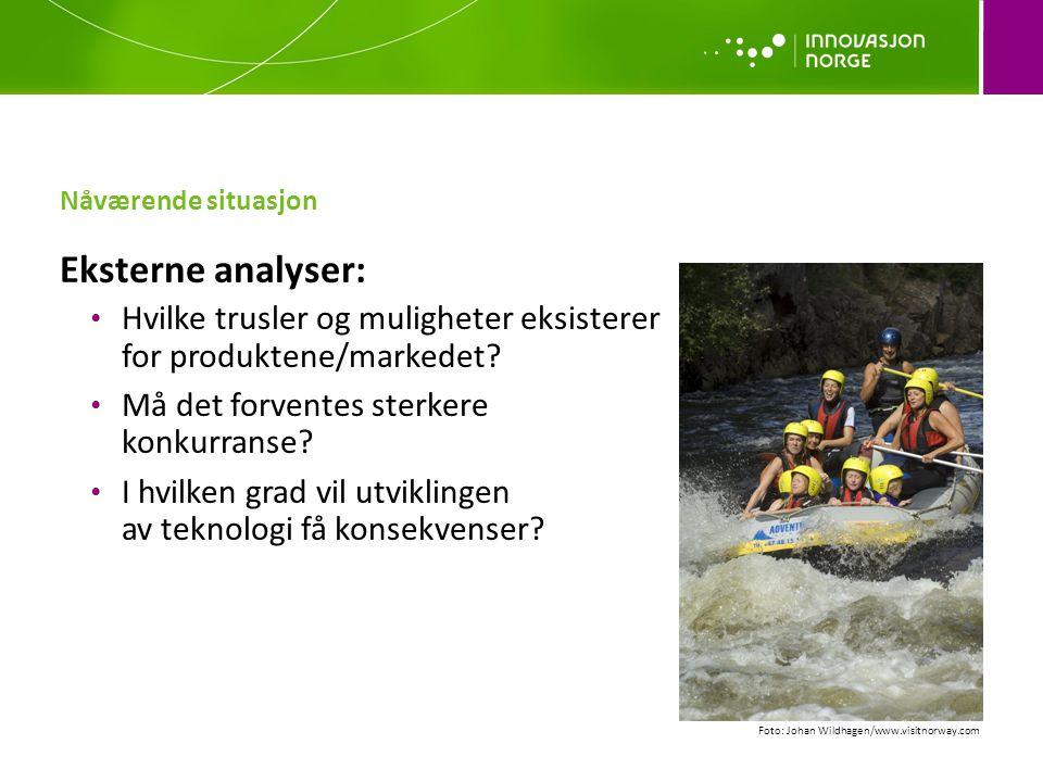 Nåværende situasjon Eksterne analyser: Hvilke trusler og muligheter eksisterer for produktene/markedet