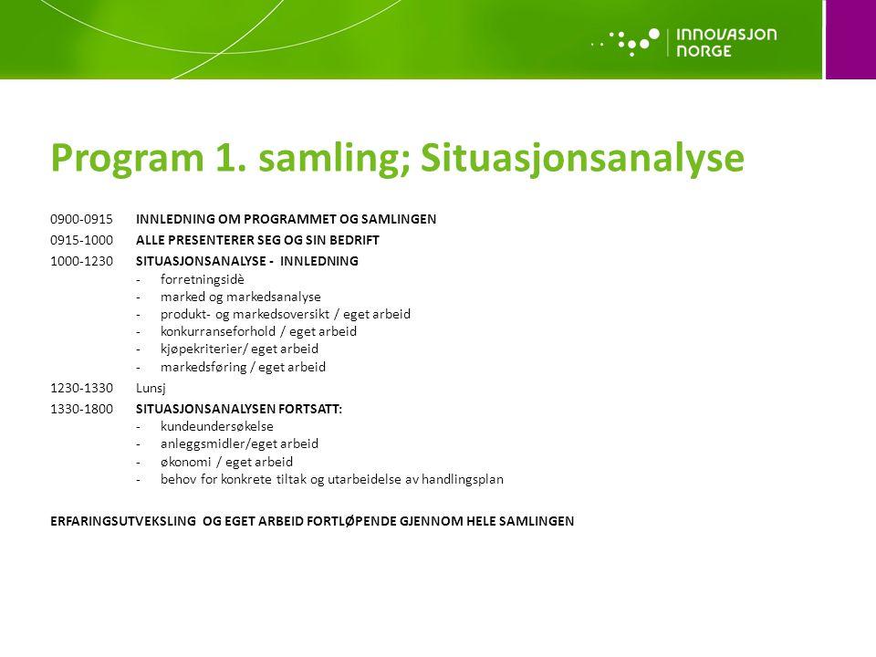 Program 1. samling; Situasjonsanalyse