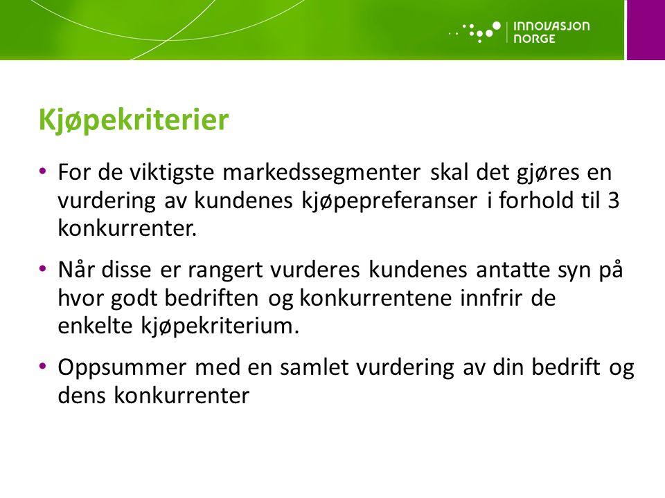 Kjøpekriterier For de viktigste markedssegmenter skal det gjøres en vurdering av kundenes kjøpepreferanser i forhold til 3 konkurrenter.