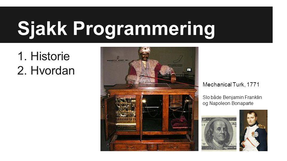 Pioneerer 1948 Alan Turing skriver program, simulert i 1952, (Turing testen) 1952 Baron Bowden's bok, Faster than thought (Turing beskriver sjakk)